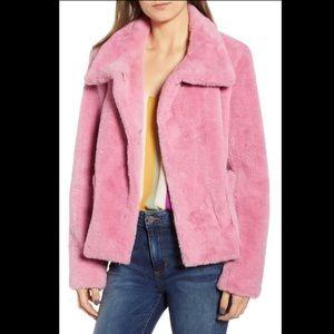 Leith Pink Faux Fur Jacket